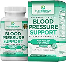 Premium Blood Pressure Support Supplement by PurePremium with Hawthorn & Hibiscus - Supports Cardiovascular & Circulatory Health - Vitamins & Herbs Promote Heart Health - 90 Caps