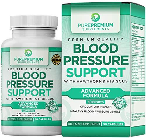 Premium Blood Pressure Support Supplement by PurePremium with Hawthorn & Hibiscus - Natural...