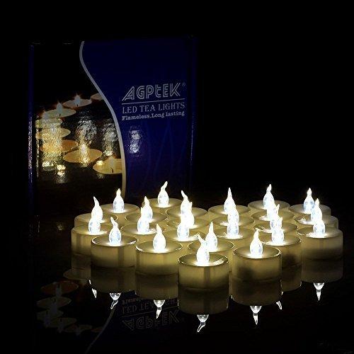 AGPTEK 24 velas de té LED parpadeantes sin llama, blanco cálido, velas...