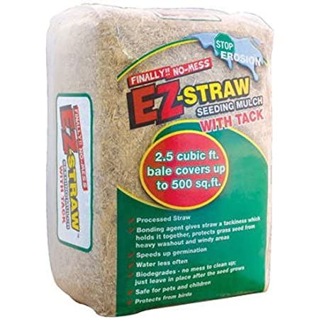 EZ-Straw Seeding Mulch with Tack - Biodegradable Organic Processed Straw – 2.5 CU FT Bale (Covers up to 500 sq. ft.) (2 Pack)