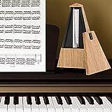 Track Beat Metrónomo de madera mecánico de sonido fuerte, metrónomo de afinador, práctica musical para guitarra, accesorio musical bajo(Light wood grain)