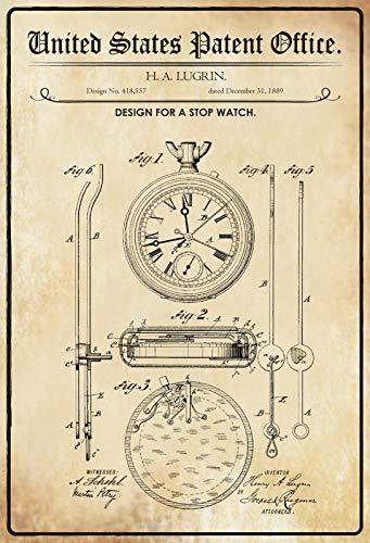 FS patent ontwerp voor een Stop klok metalen bord gebogen metalen teken 20 x 30 cm
