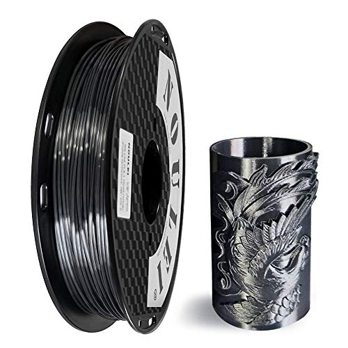 Noulei Shiny PLA Filament 1.75mm Silk Black, 3d Drucker printer Filament PLA 500g Spool