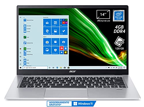 Acer Swift 1 SF114-33-P0HB PC Portatile, Notebook, Processore Intel Pentium N5030, Ram 4 GB, 128 GB SSD, Display 14  FHD IPS LED, 1,3 Kg, Batteria 16 ore, Windows 10 Home in S mode, Spessore 14,95mm
