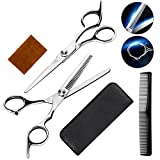 Professional Hairdressing Scissors Shears Stainless Steel Scissors with Haircut Comb Hairdressing Tool With Leather Case for Home,Salon,Barbers