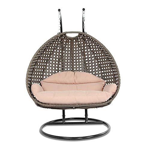 9716XL isla viento al aire libre muebles de jardín lujo 2persona mimbre con forma de huevo Swing silla w/con recubrimiento en polvo de hierro soporte y cojín para interior, exterior, jardín, porche