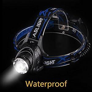 Linkax Linterna Frontal LED USB Recargable Linterna de Cabeza 800 Lúmenes Luz Frontal Lampára de Cabeza 3 Modos Impermeable Para Camping Pesca Ciclismo Carrera Caza (Batería 18650 incluida)