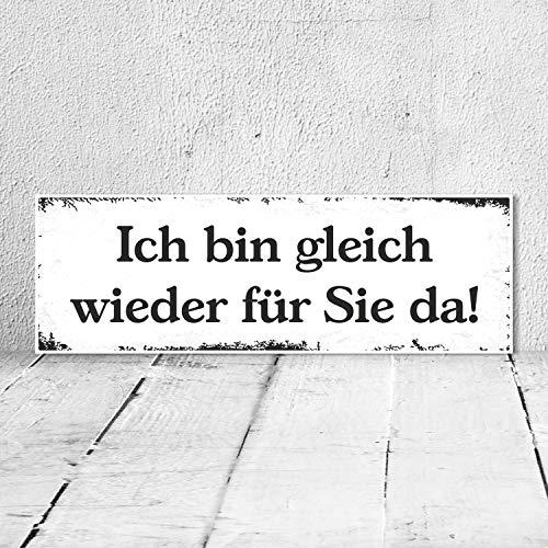 WERBEPUNKT. Vintage Shabby Holzschild Ich Bin gleich Wieder für Sie da Geburtstag Geschenk