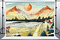 HD Mountain Sun Backdrop River Village Art Backdrop Cotton 7x5ft with Rod Pocket Wall吊りMBQQPH70