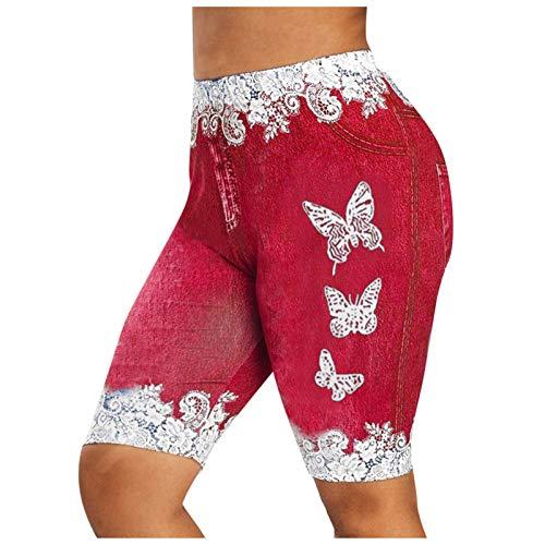 EUCoo Pantalones cortos de mezclilla para mujer, pantalones cortos casuales de cintura alta deshilachados ajustados recortados con estampado de encaje y costuras