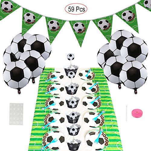 ASYBHYY Fútbol Temáticas Decoraciones de Fiesta con Balones Globos Helio, Pancartas, Platos & Tenedores, Mantel y Toppers de Magdalena de Futbol Fanática del Fútbol para Niños Niño Cumpleaños