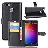 Owbb Hülle für Blackview E7 Ultra Schlanke Handyhülle Premium PU Ledertasche Flip Cover Wallet Case mit Stand Function Innenschlitzen Design Schwarz