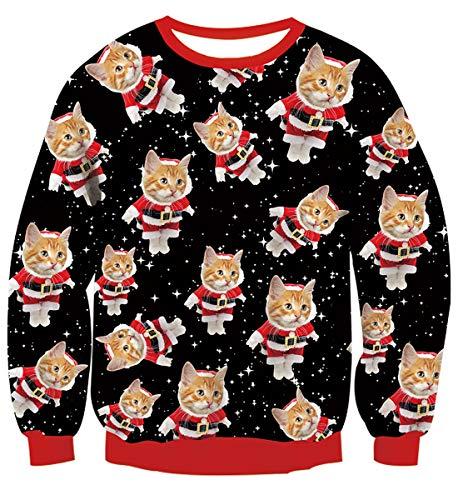 Belovecol Weihnachtspullover Damen Neuheit 3D Druck H?sslich Weihnachten Sweatshirts Pullover Jumpers Herren Ugly Christmas Sweater