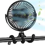 Stroller Fan Portable Handheld Fan Usb Personal Fan10000mAh Clip Fan Personal Desk Baby Fan Air Circulator Fan with Flexible Tripod, Quiet 3 Speed 360° Rotatable Usb Fan for Stroller Bike Camping