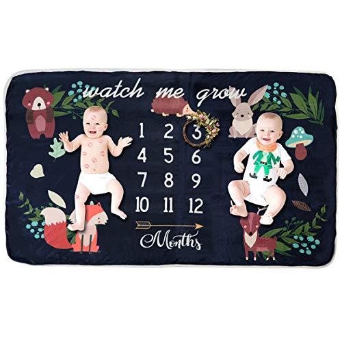 Baby Meilenstein-Decke aus Fleece, extra groß, Fotografie-Hintergrund-Decke, dicke Hintergrund-Requisite, Pucktuch, Babyparty, Geschenk für Einzel- und Zwillinge