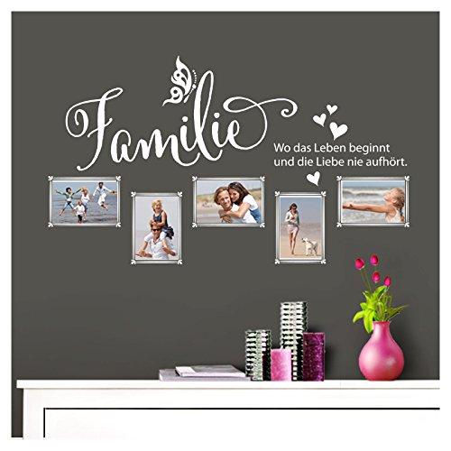 Grandora Wandtattoo Familie - Fotorahmen selbstklebend I weiß (BxH) 84 x 49 cm I Aufkleber Sprüche für Wohnzimmer Modern Wandaufkleber W5000