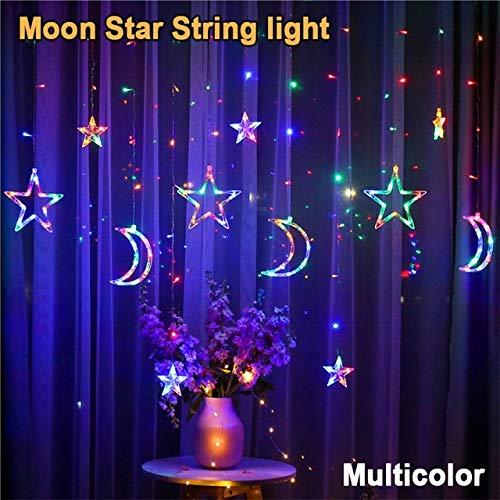 Guirnaldas de luces LED, guirnaldas de luces para Navidad, decoración, bombilla de estrella en la ventana, interior y exterior, multicolor Moon, 110 V