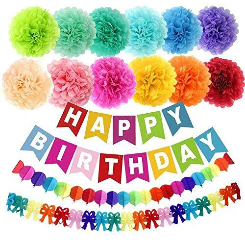 Supkeyer Papier-Pompons für Geburtstagsfeier, Happy-Birthday-Bannergirlande, Regenbogen-Papier-Girlande, 15-teilig