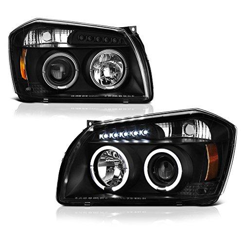 [For 2005-2007 Dodge Magnum] LED Halo Ring Black Projector Headlight Headlamp Assembly, Driver & Passenger Side
