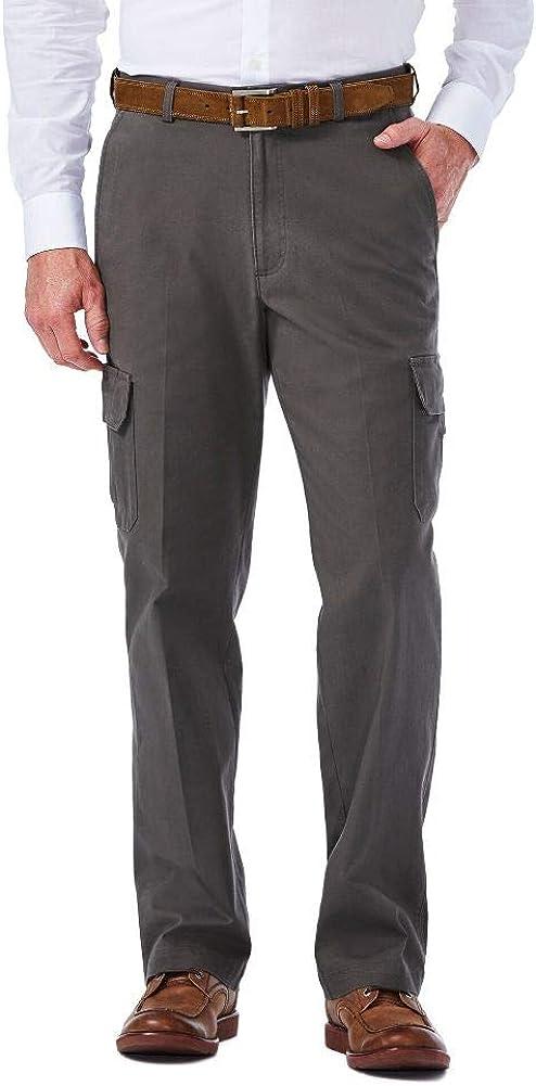 Haggar mens Stretch Comfort Cargo Expandable Waist Classic Fit Plain Front Pant