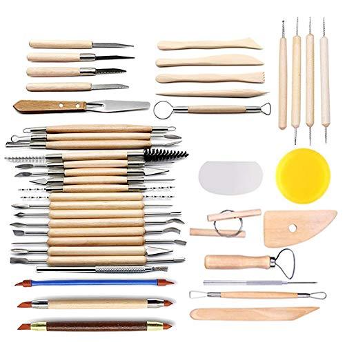 CestMall Juego de herramientas para esculpir 38pcs, herramientas de alfarería con mango de madera para realizar esculturas de cerámica y arcilla