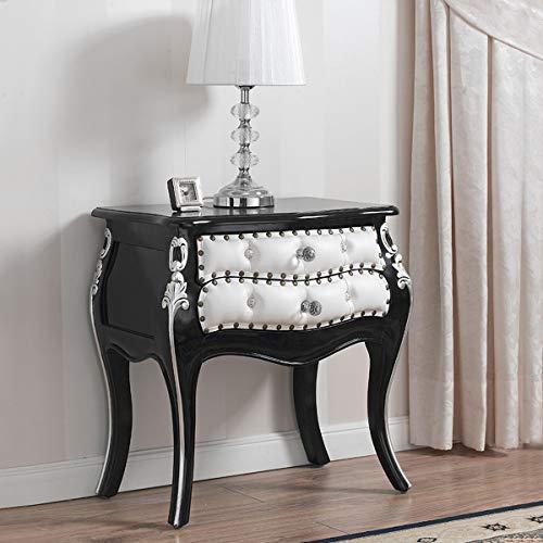 SIMONE GUARRACINO LUXURY DESIGN Table de Chevet bombé Brilliant Style Baroque Dark Noir laqué et Feuille Argent Similicuir Blanc Boutons et poignées Crystal SW