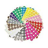LJY, selbstklebende kleine runde Aufkleber, 32 mm, Markierungspunkte, mehrfarbige Etiketten, 12 verschiedene Farben