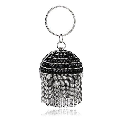 Goodvk La Tarde del Bolso de Embrague para la Mujer Bolso de Noche de Abalorios con Cuentas de Cristal para Mujer (Color : Negro)