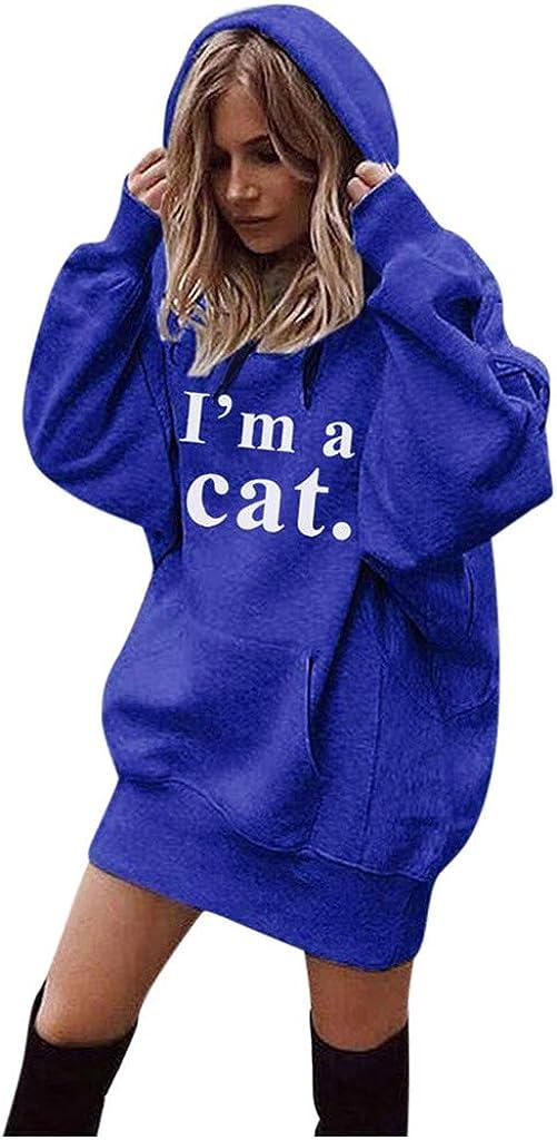 Eduavar Hoodies for Women, Women Girls Fashion Letter Printed Long Sleeve Pullover Sweatshirt Hoodie Tops with Pocket