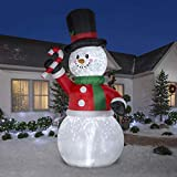Gemmy 12.Ft. Tall Christmas Inflatable Airblown Snowman with Tophat and Green Scarf Holding Candycane with Kaleidoscope Lights Indoor/Outdoor Holiday Decoration