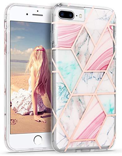 Imikoko iPhone 8 Plus Marmor Hülle, iPhone 7 Plus Matt Slim Weich TPU Handyhülle (Muster 53)