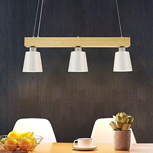LED Pendelleuchte Esstisch Holz Hängeleuchte 3 Flammig Warmweiß Höhenverstellbar Esstischlampe für Esszimmer Wohnzimmer Büro Cafe Restaurant - Weiß - 3xWarmweiß E27 Leuchtmittel inkl. - 70x14x23CM