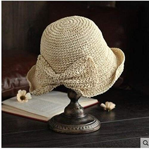 Sun Hats Fashion Lady 100% Raffia Sun Hats Women Summer Straw Hat Visor Sunhat Panama Boater Floppy Bucket Cap Female Woman Straw Beach Size56-58Cm Beige