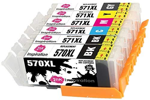 INK INSPIRATION Reemplazo para Canon PGI-570XL CLI-571XL Multipack 6 Cartuchos de Tinta Compatible con Canon Pixma MG7750 TS8050 TS9050 MG7751 MG7752, PGBK/Negro/Cian/Magenta/Amarillo/Gris