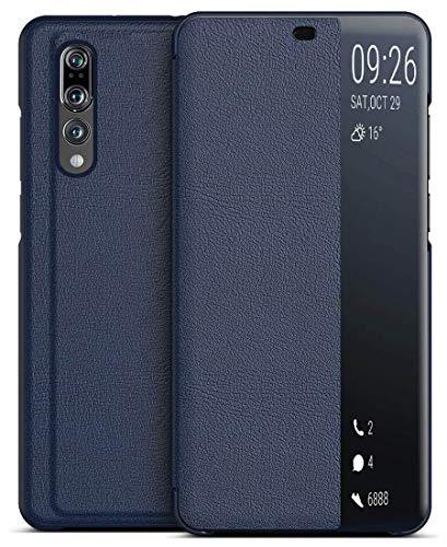 """EUDTH Huawei P20 Pro Coque, Housse de Protection en Cuir avec Fenêtre Smart View, Flip Cover avec Fonction de Support Étui à Rabat pour Huawei P20 Pro 6.10"""" -Bleu foncé"""