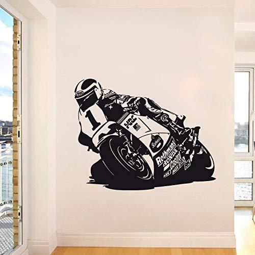 ganlanshu Racing Motorrad Wandaufkleber Vinyl Dekoration Motorrad Spieler Wandtattoo Sport Für Kinder Wohnzimmer 87 cm X 69 cm