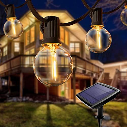 Solar Lichterkette Außen, QXMCOV LED Lichterkette Aussen Glühbirne mit 25 Stück Glühbirnen und 2 Ersatzbirnen, Deko Licht für Innen, Garten, Balkon, Bäume, Terrasse, Hochzeiten, Partys, Warmweiß