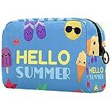 Bolsa de cosméticos de viaje para mujer, impermeable, doble cremallera, grande, bolsa de almacenamiento cosmético, bolsa de cosméticos, Hello Summer Beach Sandía
