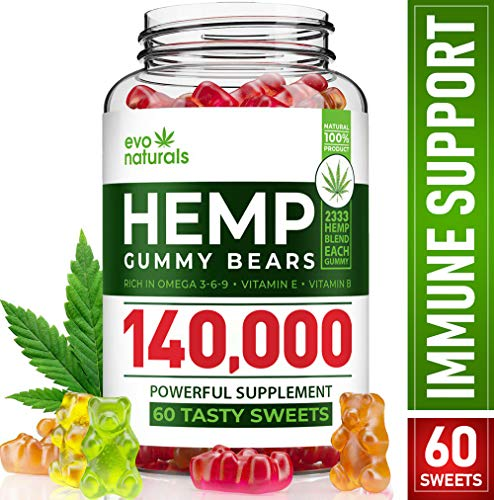 Evo Naturals Hemp Gummies –140,000mg Blend – 2,333mg Hеmp in Each Gummy – Relaxing Hеmp Oil Gummies – Stress & Anxiety Relief – Effective Mood Support – with Omega 3, 6, 9 & Vitamin E, B – Made in USA