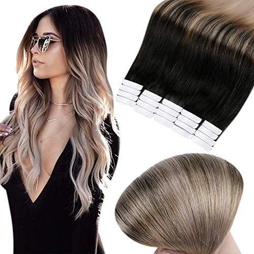 Full Shine Tape in Hair Extensions Short Human Hair Extensions Silky Straight Tape Hair Color 1B Off Black Fading to 18...