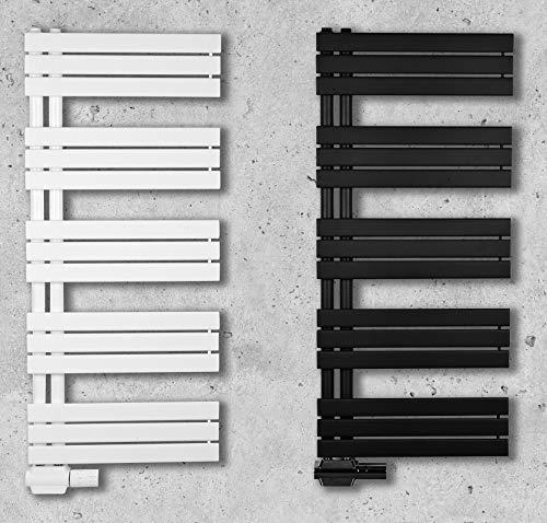 Design Badheizkörper Paneel mit Anschluss links oder rechts | Heizkörper mit versetztem Mittelanschluss (60 x 115 cm, weiß (RAL 9016))