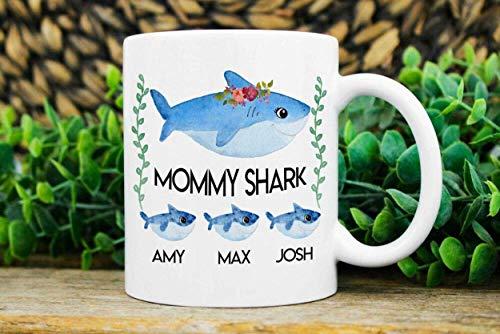 Taza con nombre de niños Taza Regalo de Navidad para mamá Taza de regalo de mamá Taza blanca de cerámica de 11 oz 5TNG9W