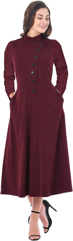 SilkRoadOriginal Women Side Button Mandarin Collar A-line Midi Dress