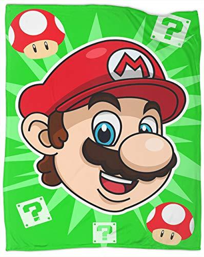 Super Mario Bros Sapo Manta de felpa suave y sedosa Super Mario Bros Manta de forro polar Tamaño Hed Mantas para cama cubre 127 x 101 cm