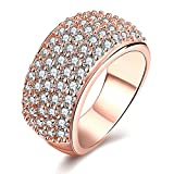 Uloveido Simple Cubic Zirconia Eternity Band Wedding Ring Crystal Zircon Anniversary Rings Party Prom Favor Ring Gift Ideas for Women and Girls (Rose Gold Size 7) CR002