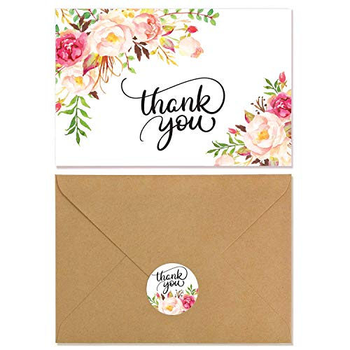 VEEYOL 40 Floral Thank You Cards For Wedding, Baby Shower, Bridal, Business, Anniversary, Graduation - Floral Thank You Notes with Kraft Envelopes