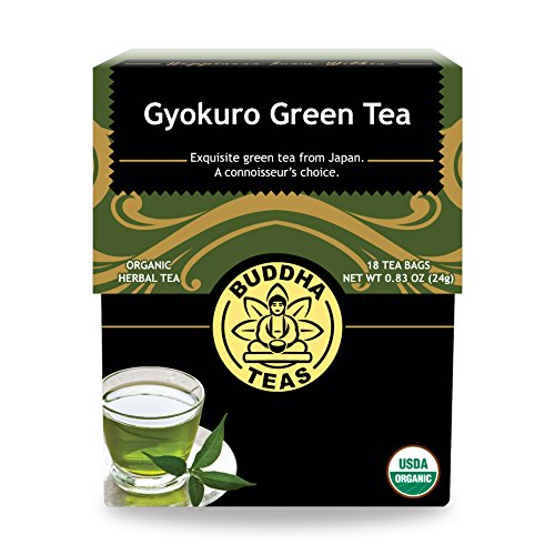 Organic Gyokuro Green Tea – 18 Bleach-Free Tea Bags – Energizing Tea with Caffeine, Invigorating and Stimulating Coffee Alternative, Rich in Nutrients, Kosher, GMO-Free