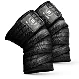 Mava Sports Knee Wraps for Weightlifting, Squats, Powerlifting, WODs, Gym Workout & Fitness - Perfect Compression Knee Straps with Great Elastic Support for Men & Women - 72'- (Pair) - Black