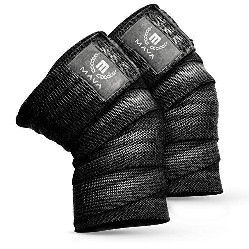 """Mava Sports Knee Wraps for Weightlifting, Squats, Powerlifting, WODs, Gym Workout & Fitness - Perfect Compression Knee Straps with Great Elastic Support for Men & Women - 72""""- (Pair) - Black"""