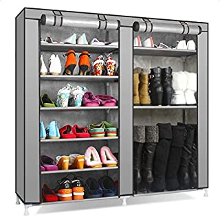 IEnkidu 9 Lattices 27-Pairs Portable Boot Rack Double Row Shoe Rack Covered with Nonwoven Fabric (Gray)
